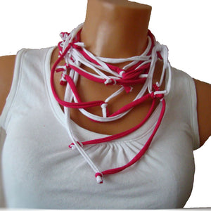 Sebix - 2 Coloured White & Pink Rebel Style Fabric String Necklace