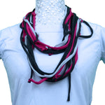 Sebix - 3 Coloured Grey & Pink Rebel Style Fabric String Necklace