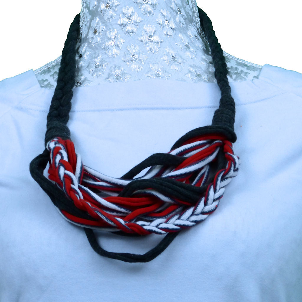 Sebix - 3 Coloured Rebel Style Fabric String Necklace Plait - Variant 1