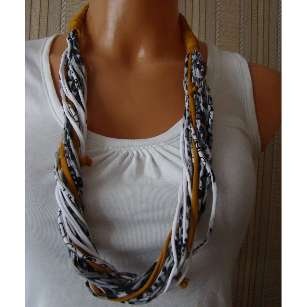 Sebix - Golden Panther Rebel Style Fabric String Necklace Plait (1)