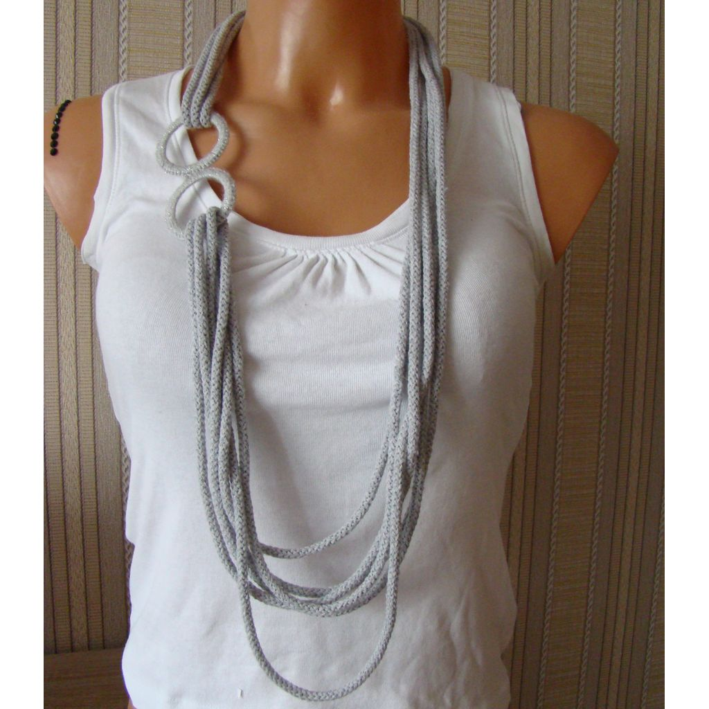 Sebix - Grey Rebel Style Fabric String Necklace with Rings (1)