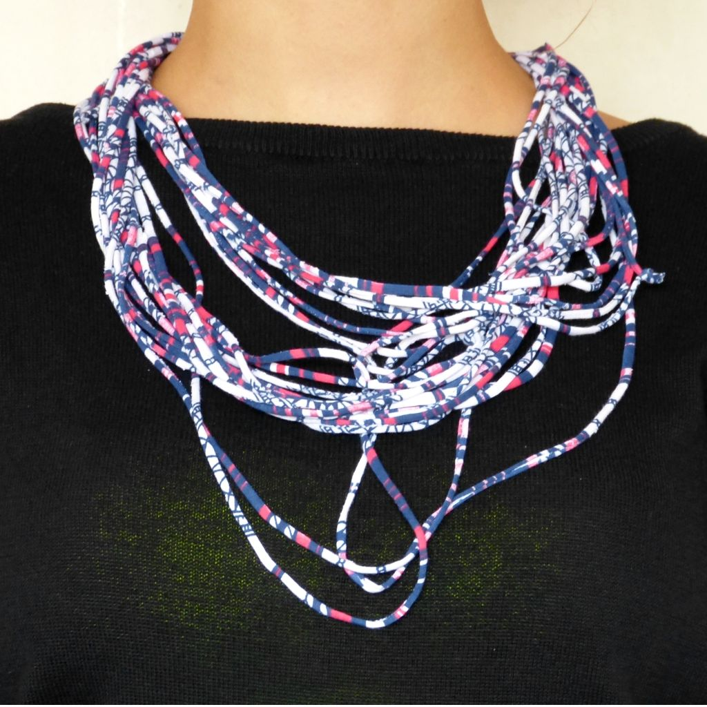 Thin Colourful Rebel Style Fabric String Necklace - Variant 1