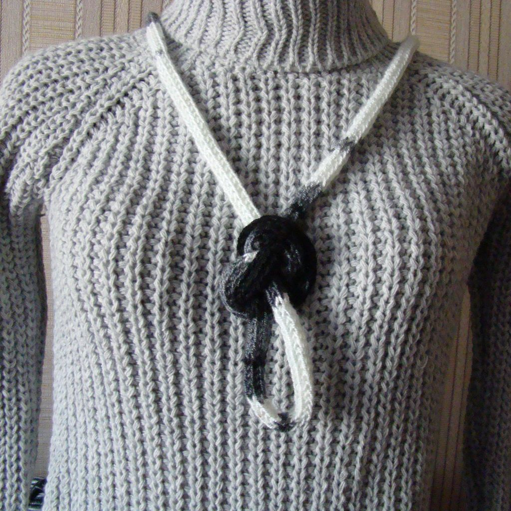White Grey Black Crochet Rebel Style Wool Necklace