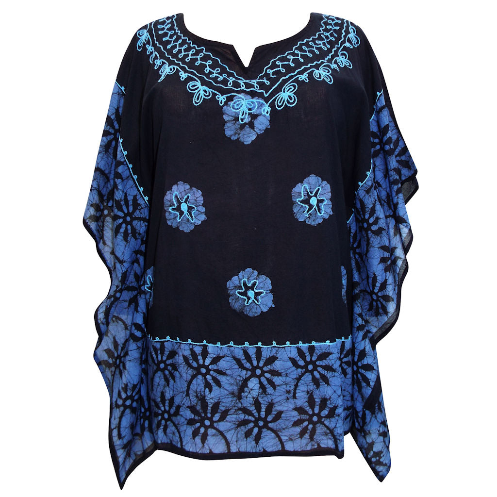 Sebix - Black & Blue Floral Cotton Kaftan Tunic Top - Front