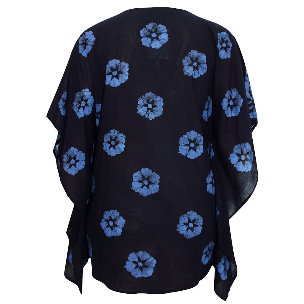 Sebix - Black & Blue Floral Cotton Kaftan Tunic Top - Back