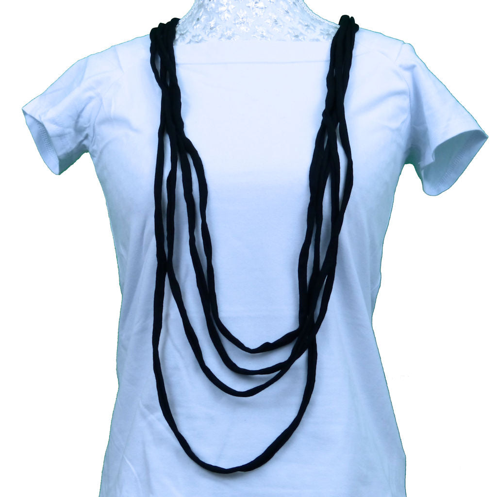 Sebix - Black Rebel Style Fabric String Necklace
