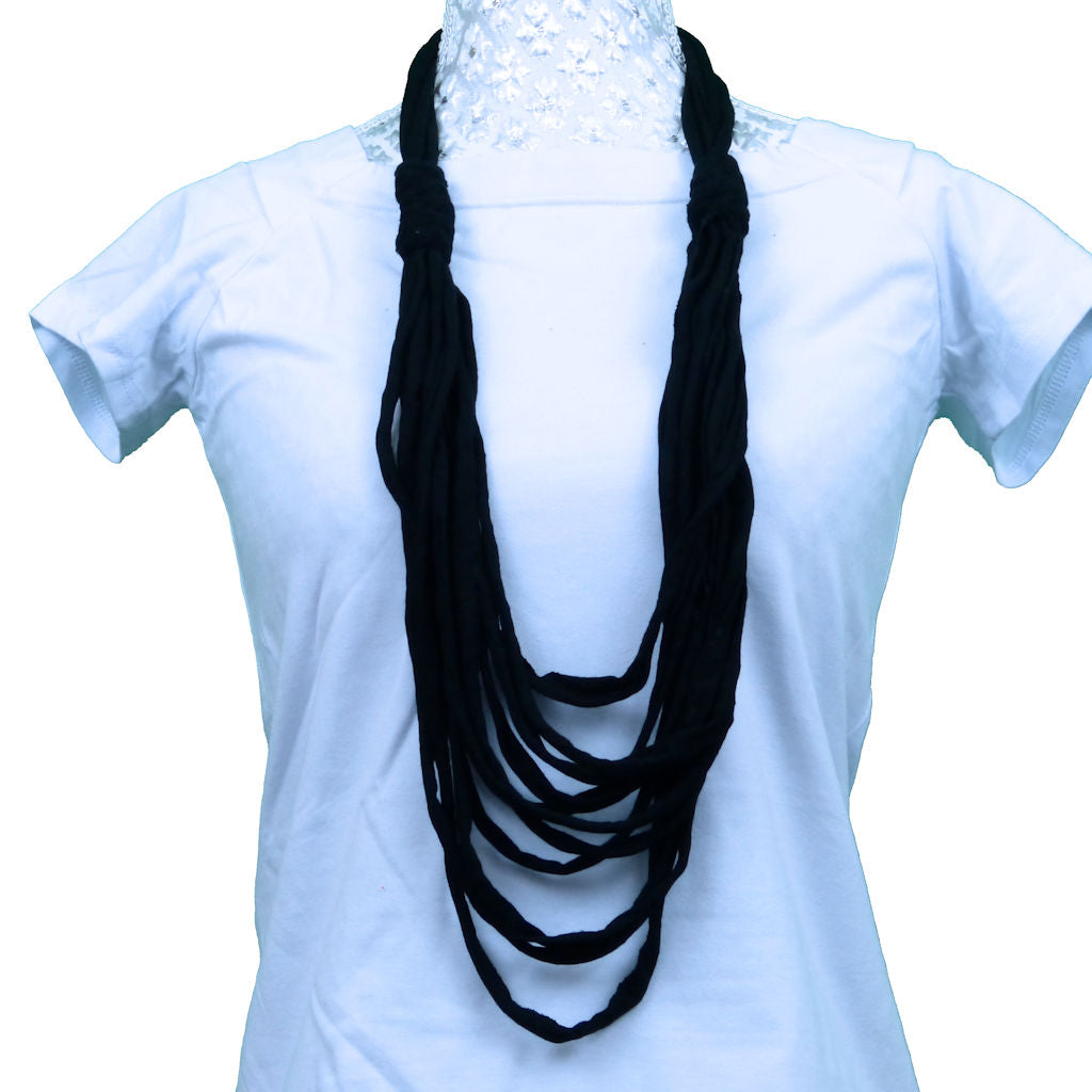 Sebix - Black Rebel Style Fabric String Necklace Plait