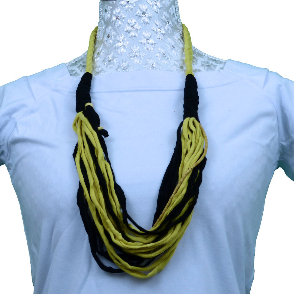 Sebix - Black & Yellow Rebel Style Fabric String Necklace Plait