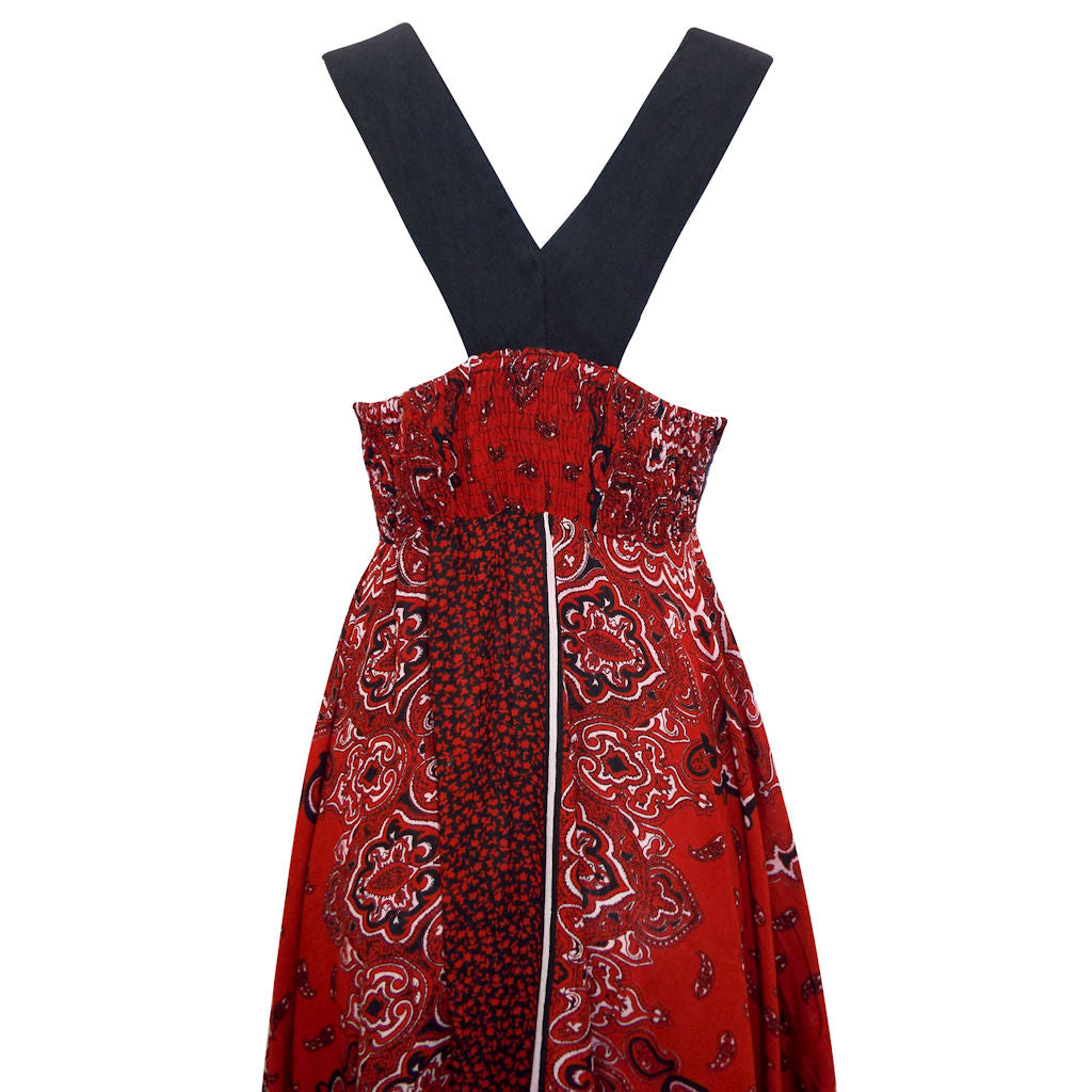 Sebix - Red & Black Summer Handkerchief Dress - Back 2