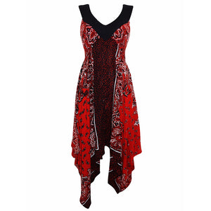 Sebix - Red & Black Summer Handkerchief Dress - Front 1