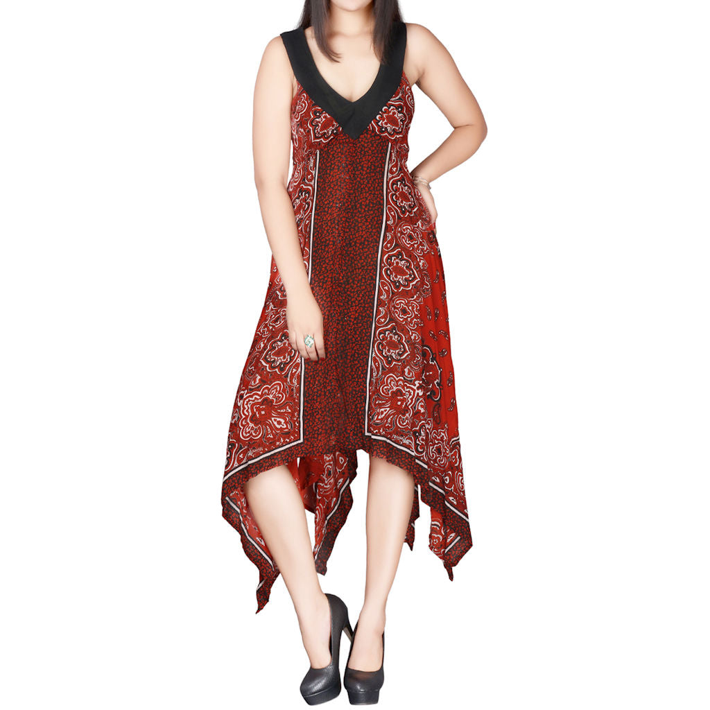Sebix - Red & Black Summer Handkerchief Dress - Front 2