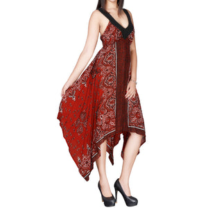 Sebix - Red & Black Summer Handkerchief Dress - Side