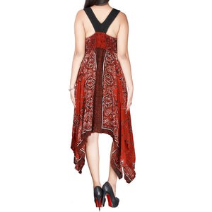 Sebix - Red & Black Summer Handkerchief Dress - Back 1
