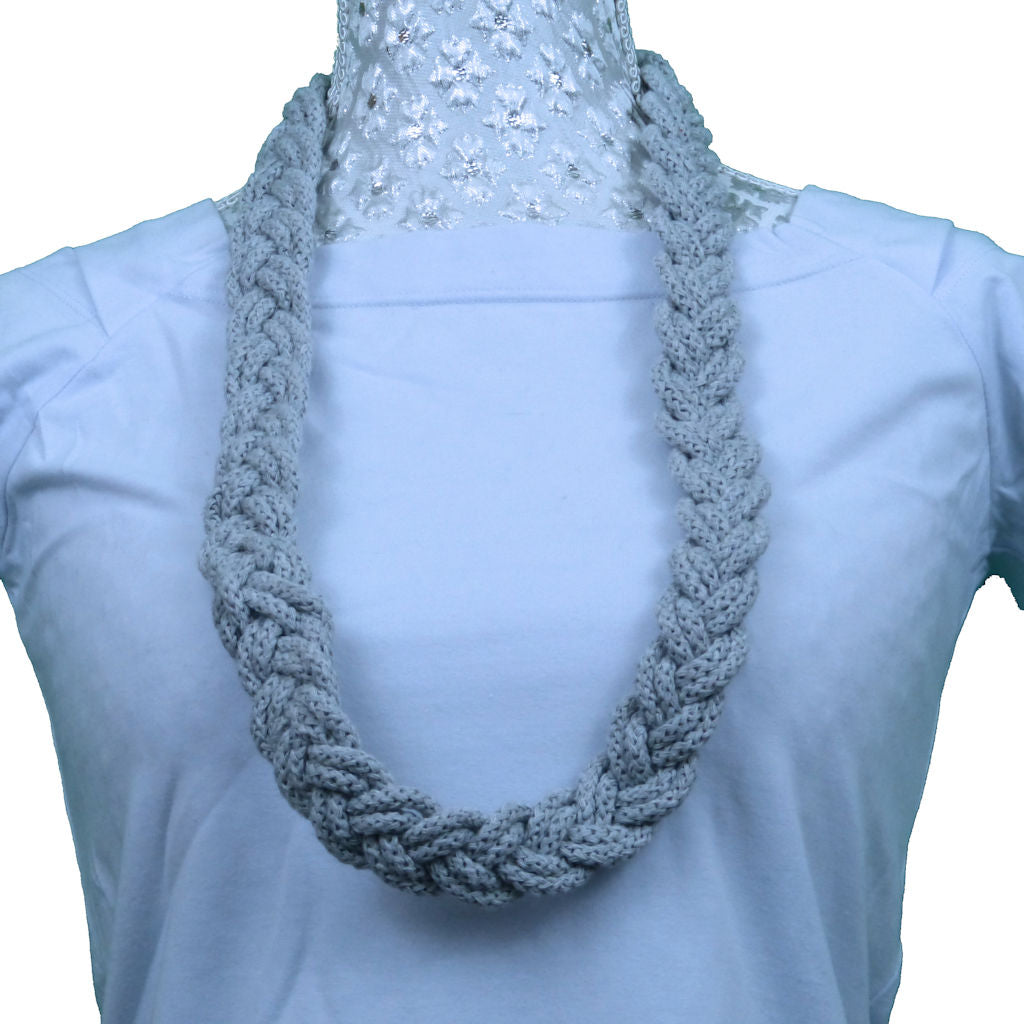 Sebix - Double Grey Rebel Style Fabric Necklace Plait