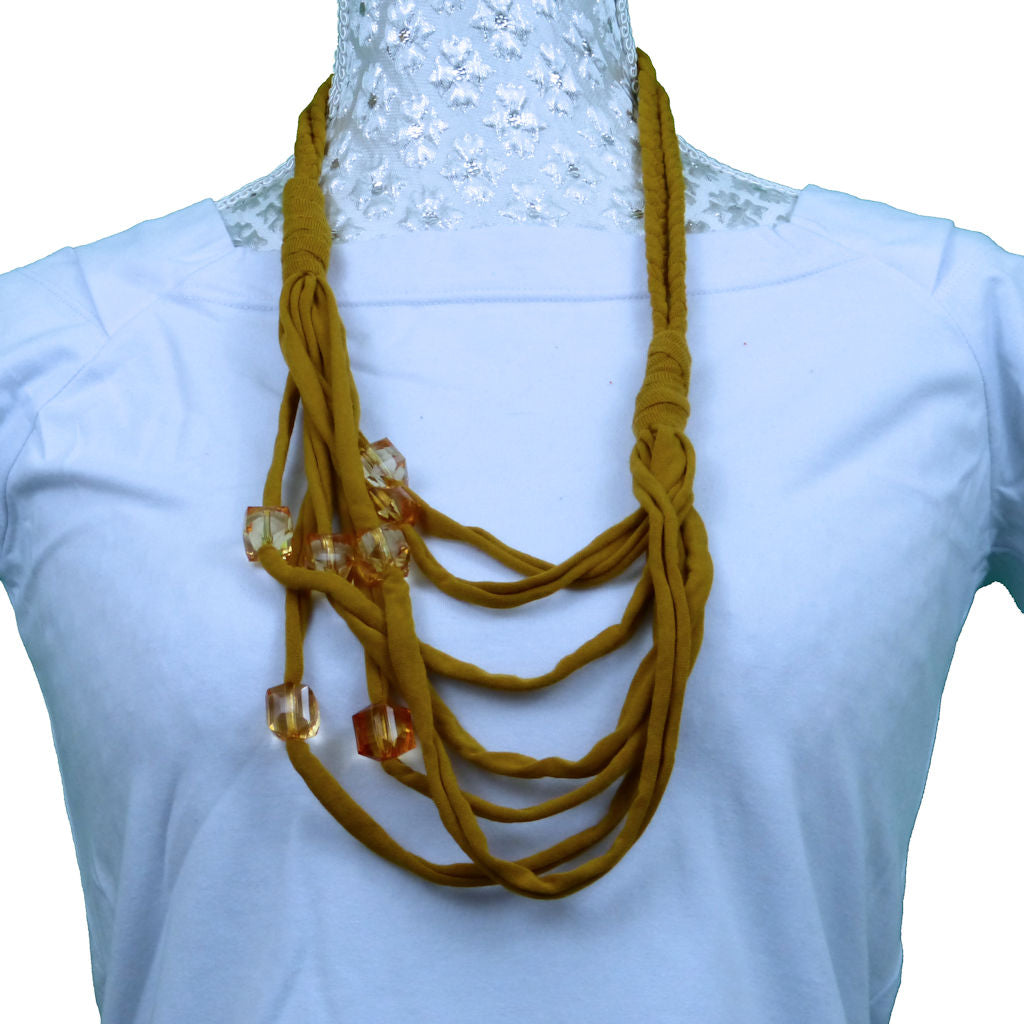 Sebix - Golden Rebel Style Fabric String Necklace Plait with Beads - Variant 1