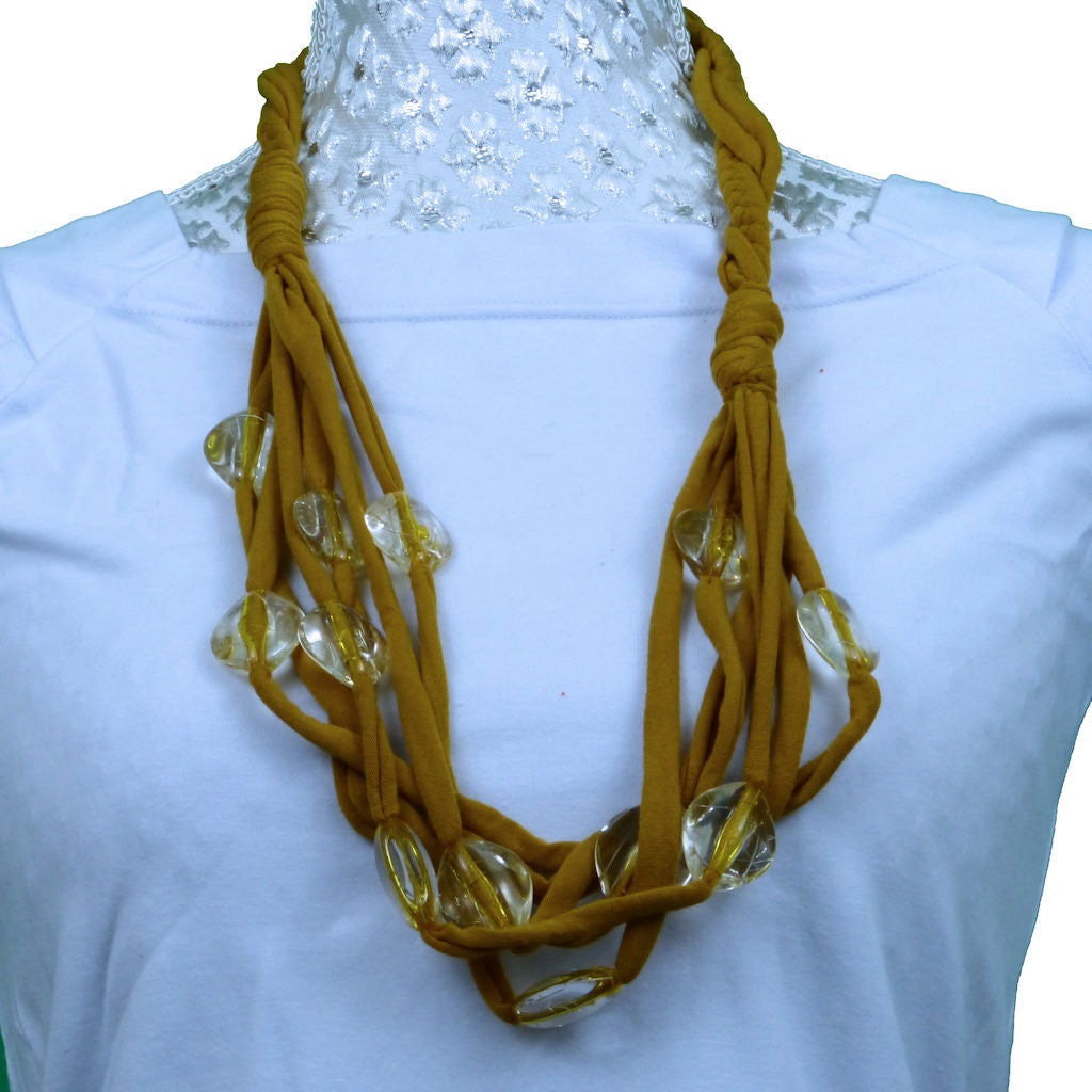 Sebix - Golden Rebel Style Fabric String Necklace Plait with Beads