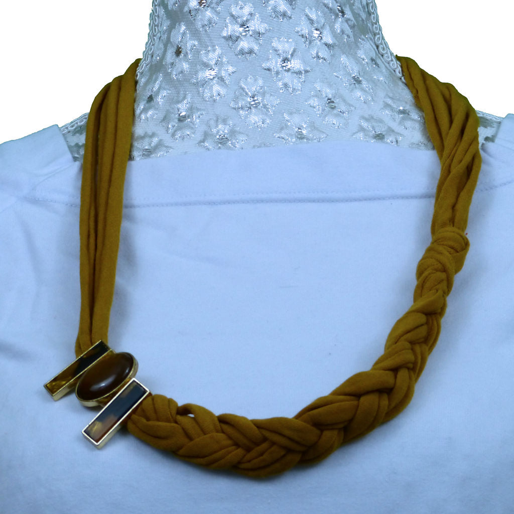 Sebix - Golden Rebel Style Fabric String Necklace Plait with Brooch (1)
