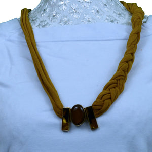 Sebix - Golden Rebel Style Fabric String Necklace Plait with Brooch (2)