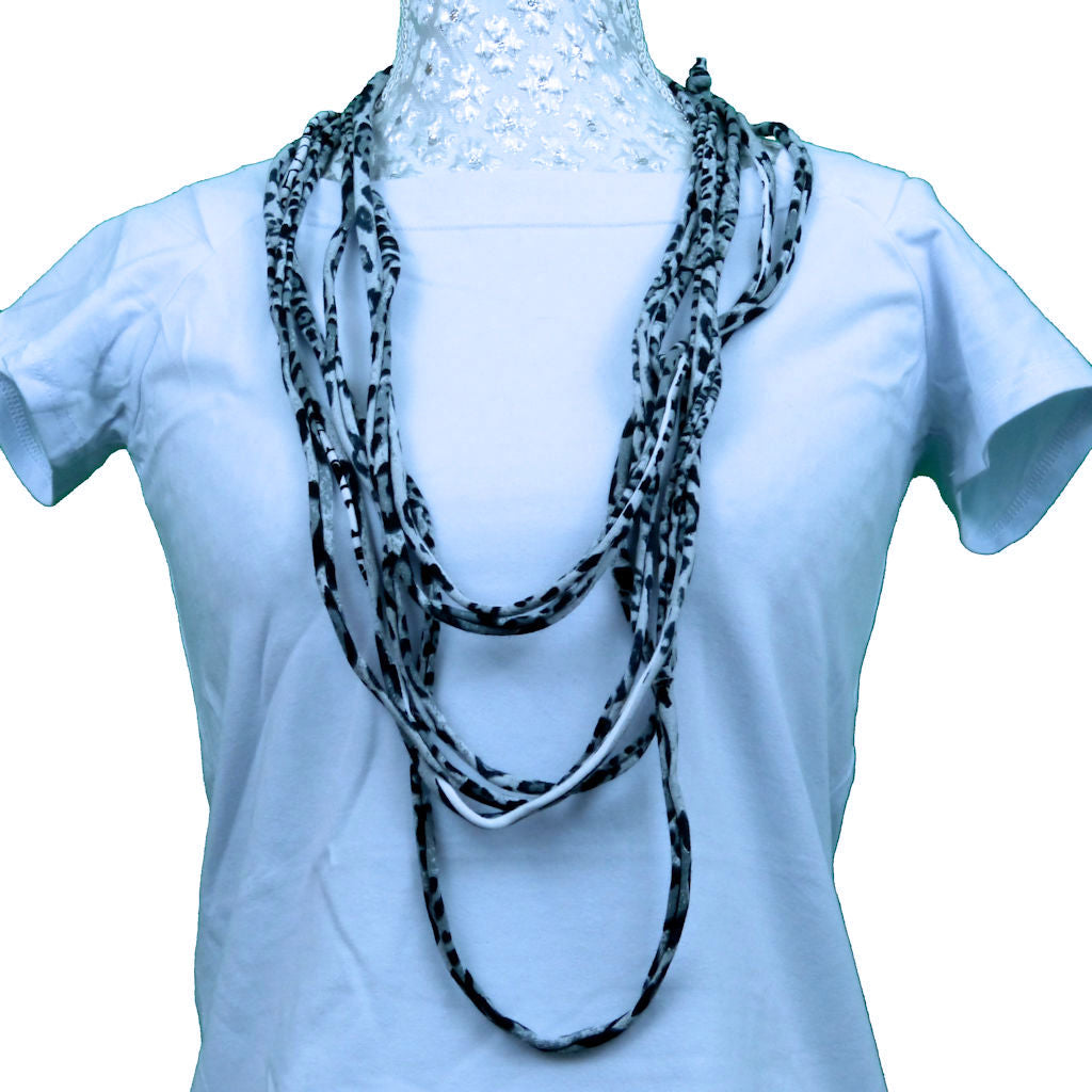 Sebix - Grey Panther Print Rebel Style Fabric String Necklace