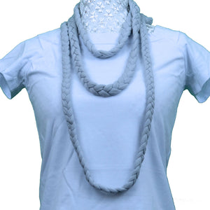 Sebix - Grey Rebel Style Fabric Necklace Plait