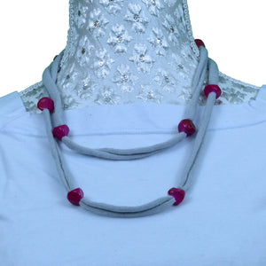 Sebix - Grey Rebel Style Fabric String Necklace with Pink Beads