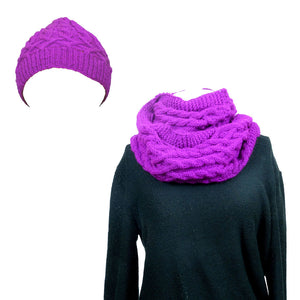 Sebix - Warm Wooly Purple Hat and Snood Scarf - Hat & Scarf