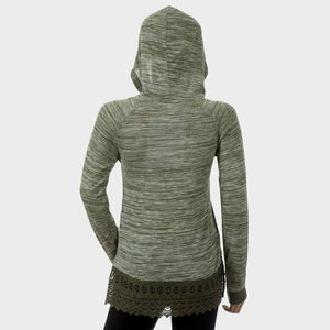 Sebix - Khaki Green Ladies Lace Long Sleeve Hooded Hoodie Top - Back