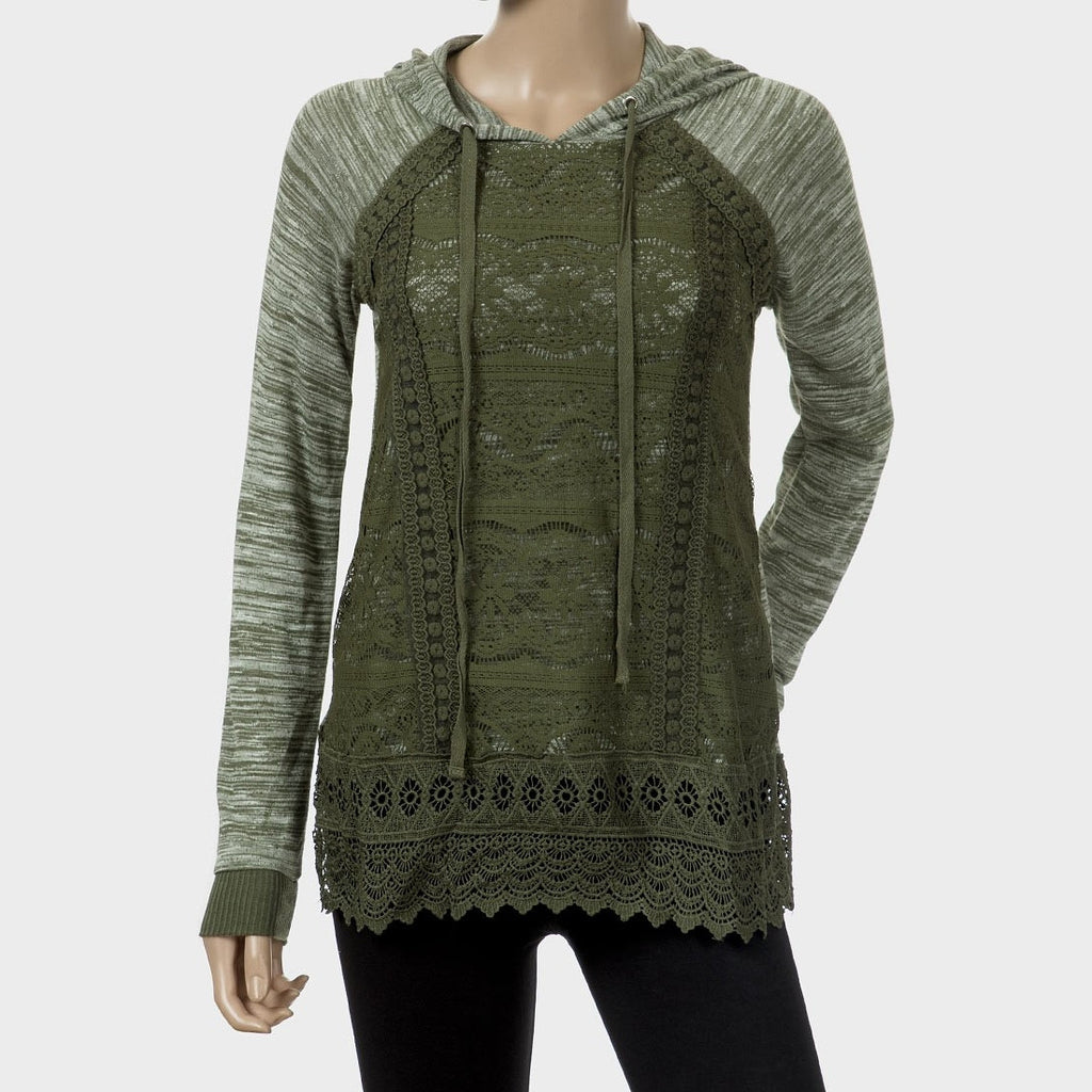 Sebix - Khaki Green Ladies Lace Long Sleeve Hooded Hoodie Top - Front