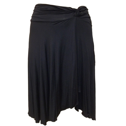 Sebix - Sexy Black Gothic Asymmetrical Knee Calf Length Skirt