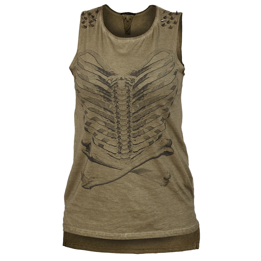 Sebix - Khaki Green Cotton Skeleton Punk Rock Sleeveless Top with Studs - Front