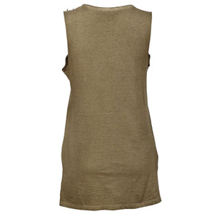 Sebix - Khaki Green Cotton Skeleton Punk Rock Sleeveless Top with Studs - Back