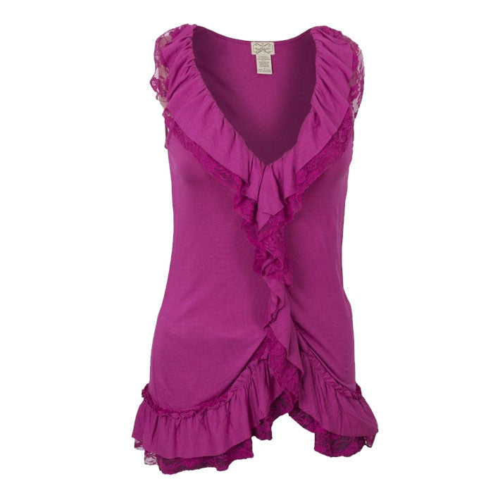 Sebix - Sexy Pink Fuchsia Ladies Sleeveless Lace Ruffle Top