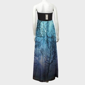 Sebix - Blue & Black Tree of Life Maternity Off Shoulder Maxi Summer Dress - Back