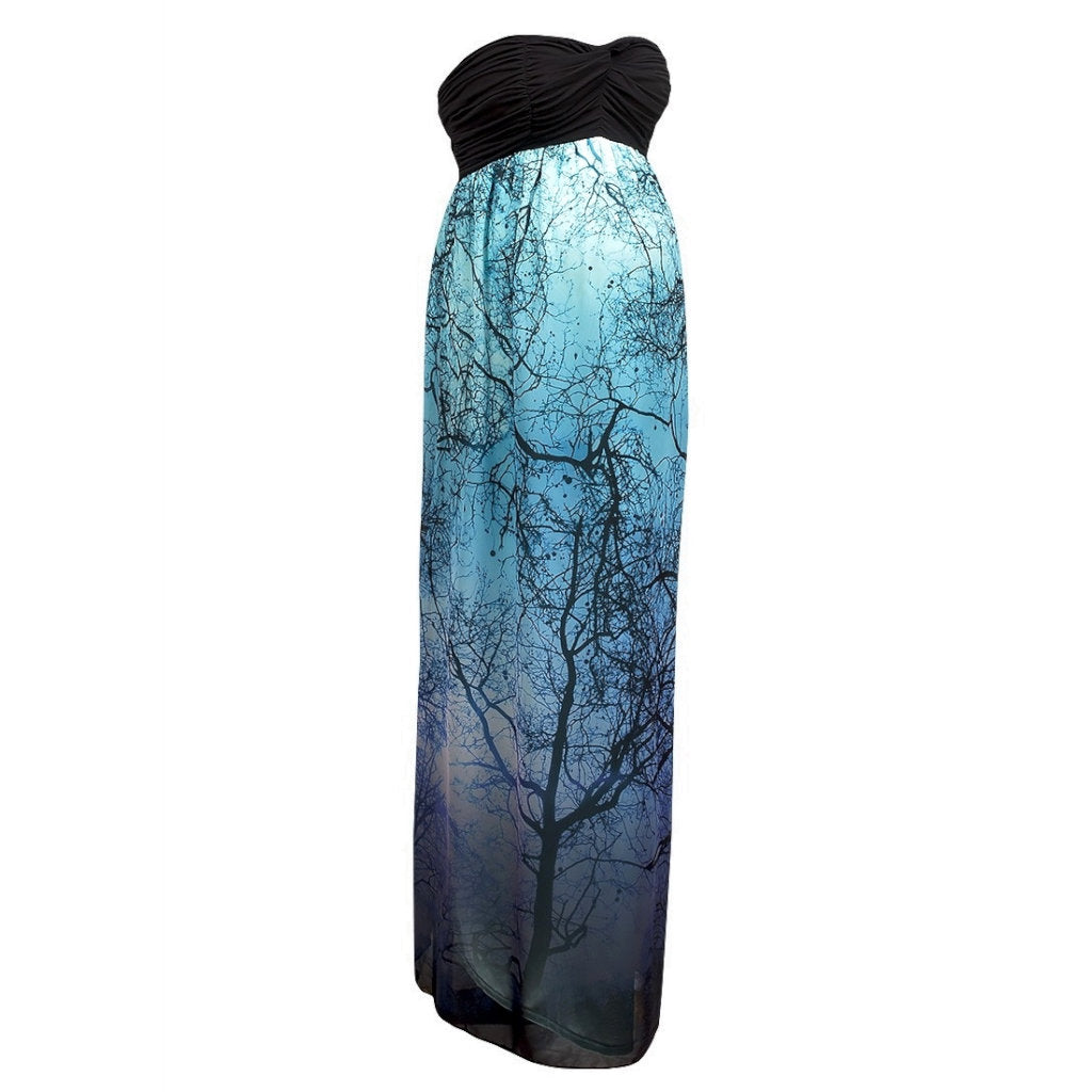 Sebix - Blue & Black Tree of Life Maternity Off Shoulder Maxi Summer Dress - Front