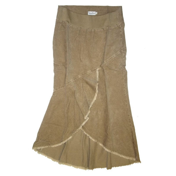 Sebix - Business Bump Beige Cotton Corduroy Maternity Full Calf Length Skirt