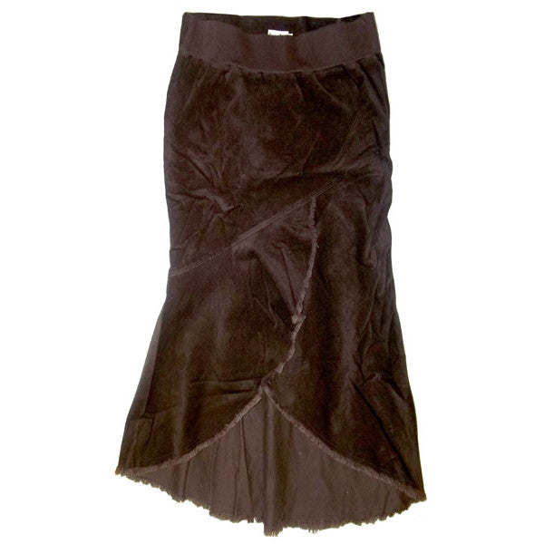 Sebix - Business Bump Brown Cotton Corduroy Maternity Full Calf Length Skirt