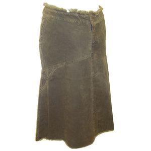 Sebix - Business Bump Olive Green Cotton Corduroy Maternity Calf Length Skirt