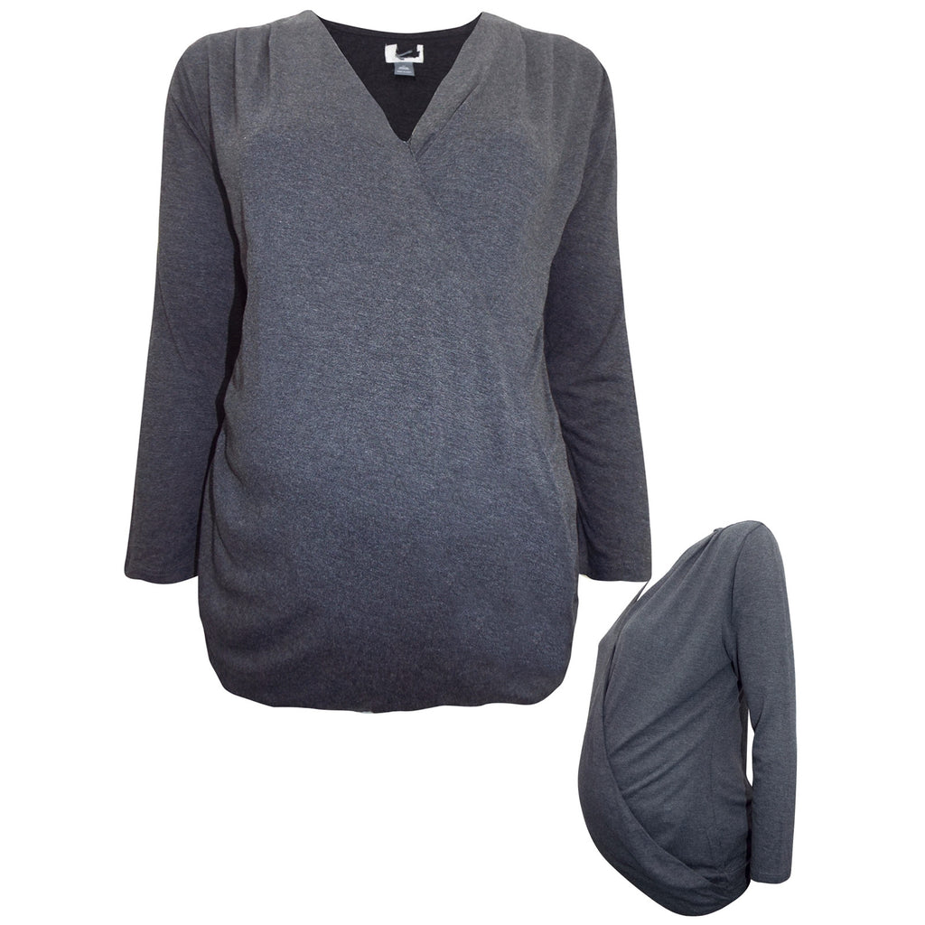 Sebix - Grey Gap 3/4 Sleeve Wrap Nursing Maternity Breastfeeding Top