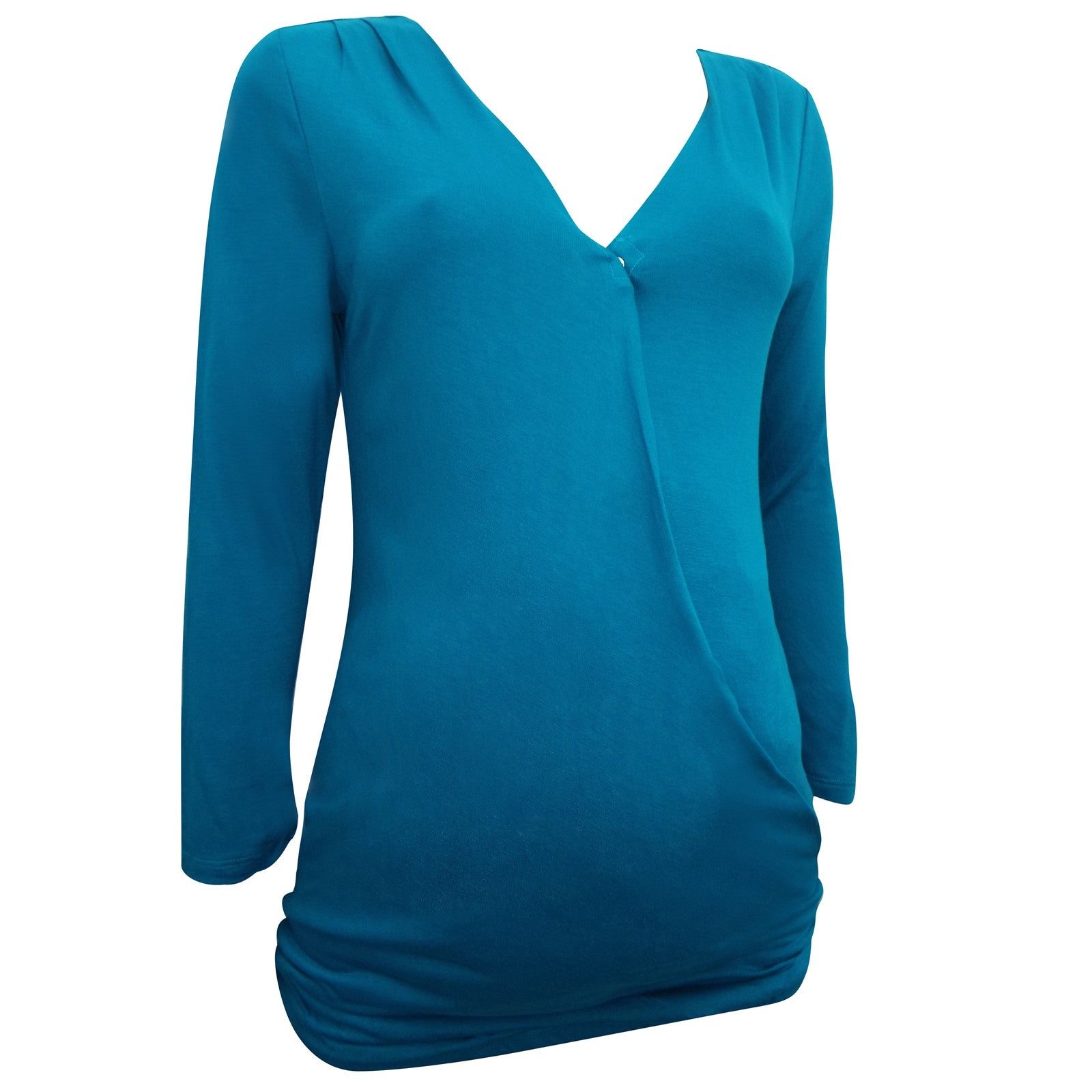 Sebix - Turquoise Gap 3/4 Sleeve Wrap Popper Maternity Breastfeeding Top