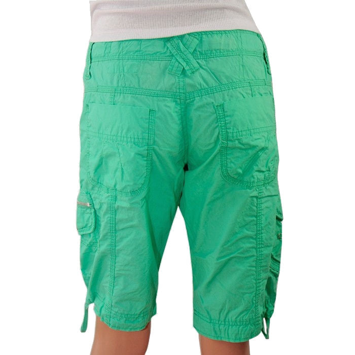 Sebix - New Look Green Cotton Cargo Maternity Under Bump Knee Length Summer Shorts - Back