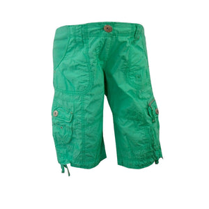 Sebix - New Look Green Cotton Cargo Maternity Under Bump Knee Length Summer Shorts - Front