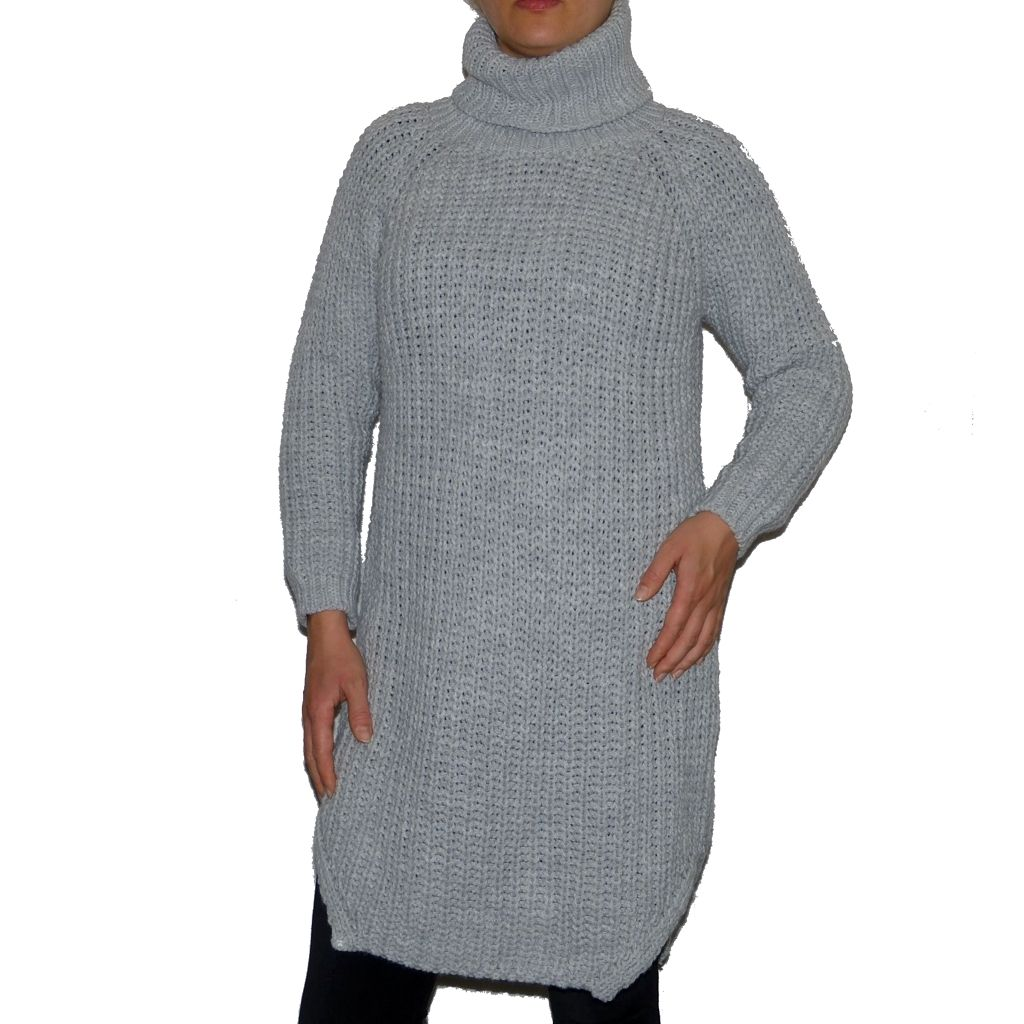 Sebix - Long Warm Wool Turtleneck Jumper - Grey