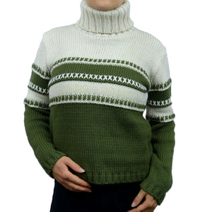 Sebix - Classic Hipster Warm Skiing Turtleneck Jumper - Green - Front