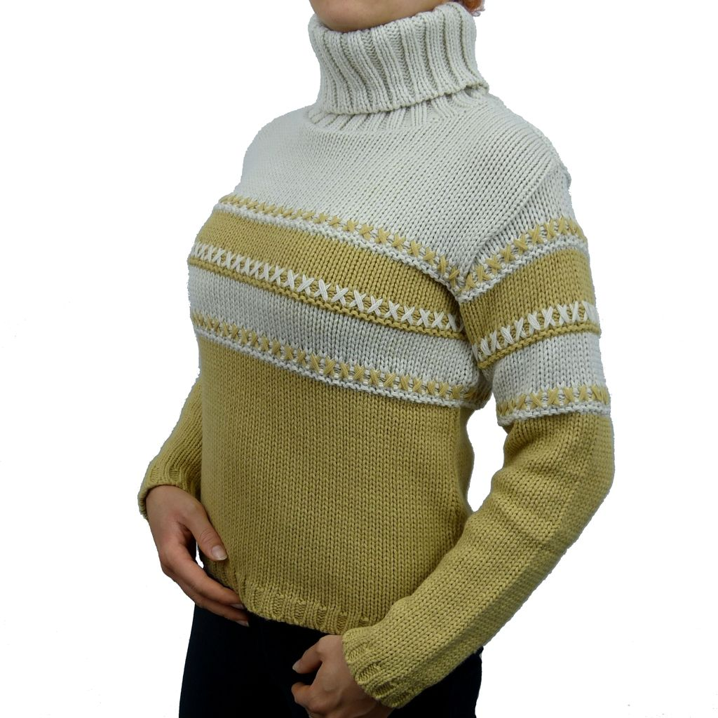 Sebix - Classic Hipster Warm Skiing Turtleneck Jumper - Beige - Side