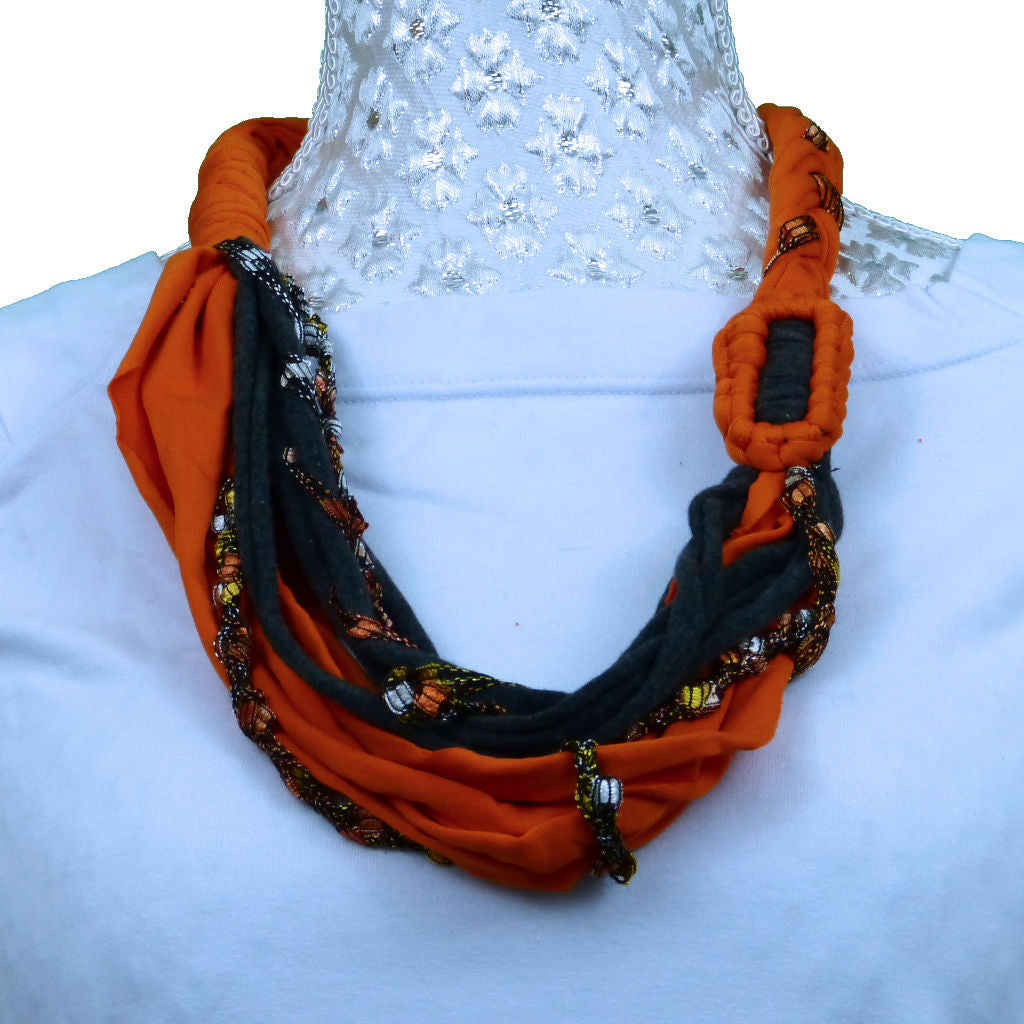 Sebix - Orange & Grey Rebel Style Fabric String Necklace Plait