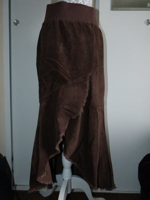 Business Bump Brown Cotton Corduroy Maternity Full Calf Length Skirt