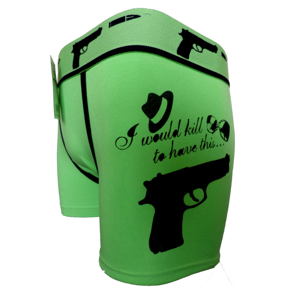 Sebix - Gangsta Gun Cotton Boxer Shorts - Green - Side