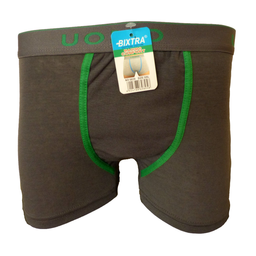 Sebix - Classic Plain Boxer Shorts - Grey - Green Thick