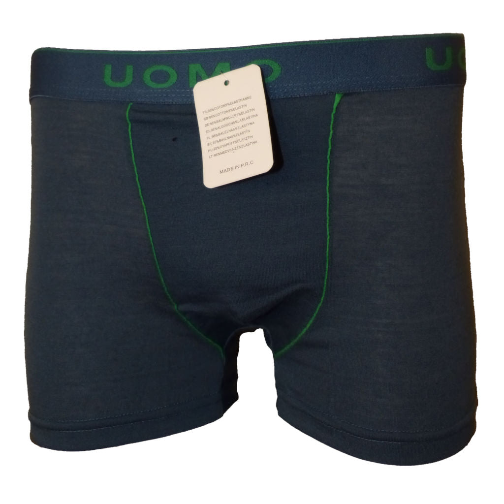 Sebix - Classic Plain Boxer Shorts - Grey/Navy - Green Thin