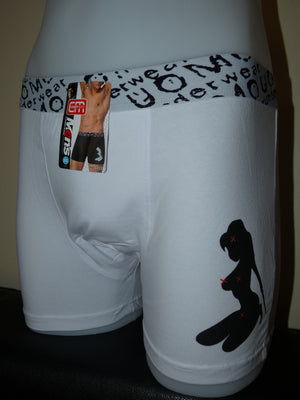 Sebix - Sexy Naked Lady Cotton Boxer Shorts - White